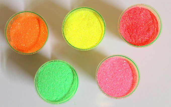 PAILLETTE  NEON 0.2 mm  / ORANGE - JAUNE - ROUGE - CHARTREUSE - BUBBLE GUM